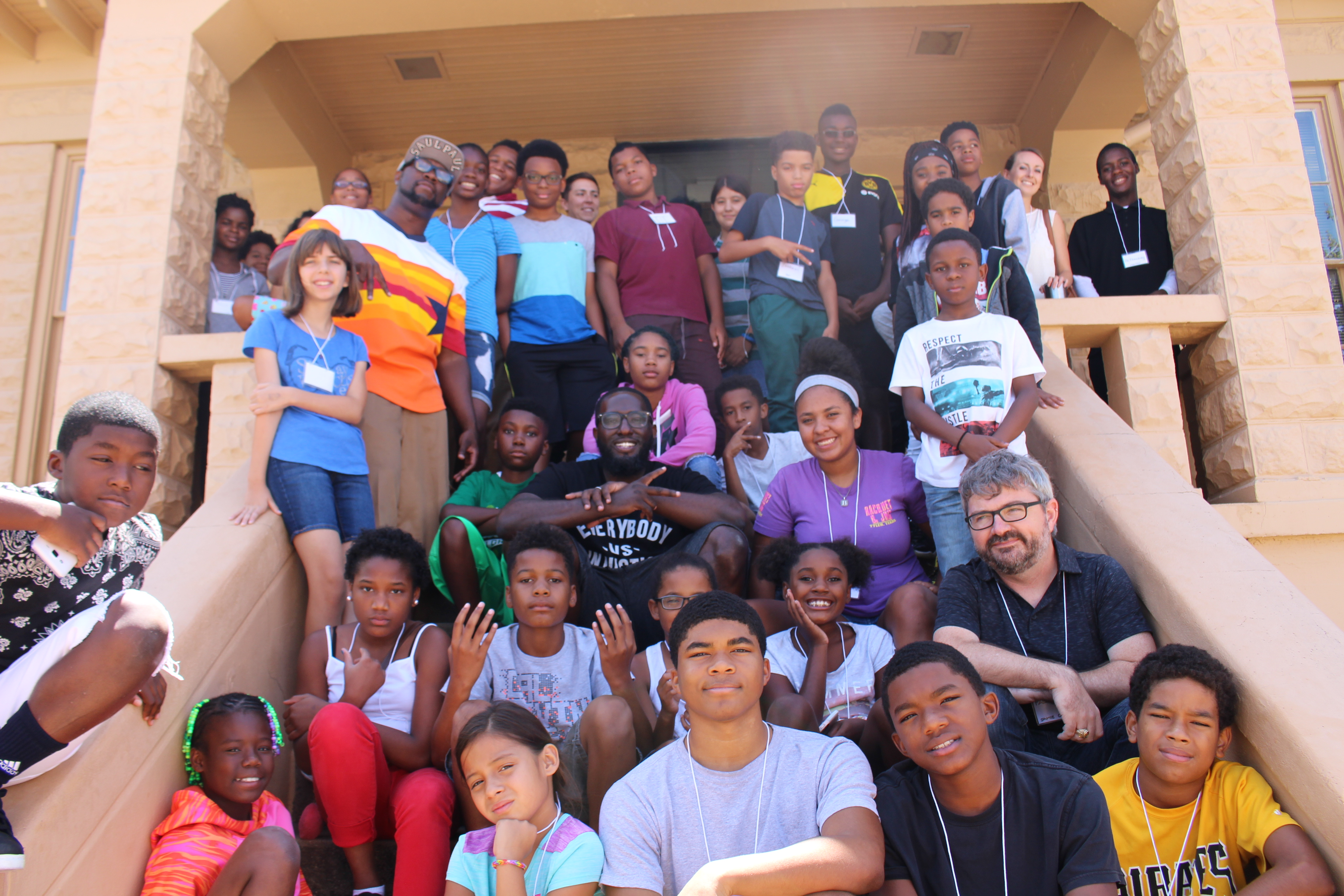 SaulPaul with the Kids from the Hip Hop Architecture Camp