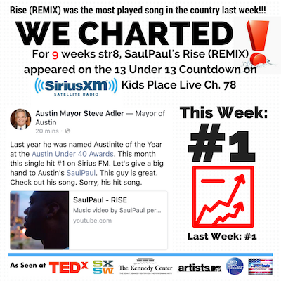 Rise Remix is the #1 on charts in the country. AGAIN! 2 weeks straight!